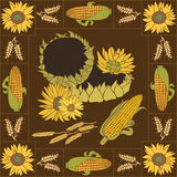 Sonnenblumen- und Maisvektorsatz Lizenzfreies Stockbild