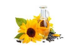 Sonnenblumen und Sonnenblumenöl lizenzfreies stockfoto