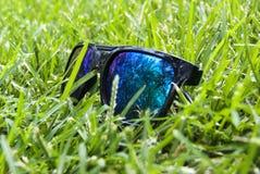 Sonnenbrille auf Gras Lizenzfreie Stockbilder