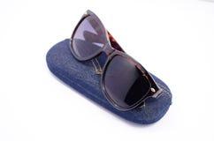 Sonnenbrille und Fall Stockbild