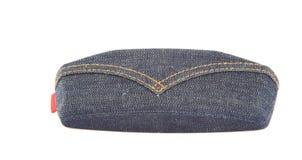 Sonnenbrillekasten des blauen Baumwollstoffs Stockbild