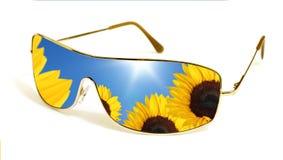 Sonnenbrillen, die Sonnenblumen reflektieren Stockfotos