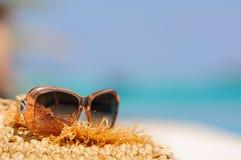 Sonnenbrillen im tropischen Ozeanhintergrund Stockbild
