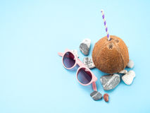 Sonnenbrillen, Seesteine und Kokosnuss Lizenzfreies Stockbild