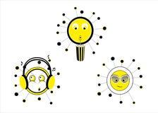 Sonnenbrillen, Sonne mit Musikkopfhörern, Sonne, die mit Stroh trinkt lizenzfreie abbildung