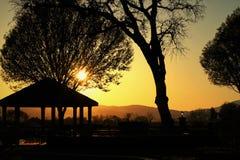 Sonneneinstellung der untergehenden Sonne Stockfoto