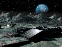 Sonnenenergie auf dem Mond Stockfotografie