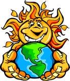 Sonnenenergieglückliche Sun-Karikaturholding Erde Lizenzfreies Stockfoto