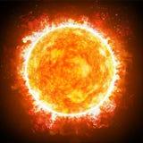 Sonneneruptionen ist ein plötzlicher Blitz der erhöhten Helligkeit auf dem Sun Sun und Sterne schließen oben stock abbildung