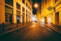 Sonnenfelsgasse at night, in the Inner Stadt, Vienna, Austria. stock images