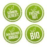 Sonnengereift, χτύπημα Frische, σύνολο εμβλημάτων ökologischer Anbau und βιο ελεύθερη απεικόνιση δικαιώματος