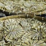 Sonnengetrocknete Stechrochenfische im Bambuskorb Lizenzfreies Stockbild