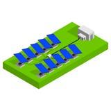 Sonnenkollektoren auf einem Dach Vektor isometrisch Stockbild