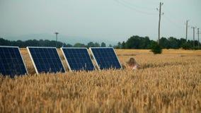 Sonnenkollektoren auf einem Feld mit einem Betrieb des kleinen Mädchens stock footage