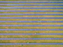 Sonnenkollektoren auf grünem Gras, das den Himmel reflektierte Lizenzfreie Stockfotos