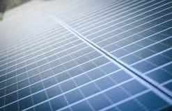 Sonnenkollektoren am Bauernhof, der Strom von der Sonne erfasst Lizenzfreie Stockfotos
