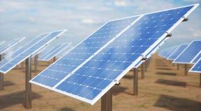 Sonnenkollektoren der Illustration 3D Alternative Energie Konzept der erneuerbarer Energie ?kologische, saubere Energie Sonnenkol lizenzfreie stockfotografie