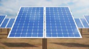 Sonnenkollektoren der Illustration 3D Alternative Energie Konzept der erneuerbarer Energie ?kologische, saubere Energie Sonnenkol lizenzfreies stockfoto