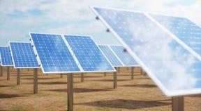 Sonnenkollektoren der Illustration 3D Alternative Energie Konzept der erneuerbarer Energie ?kologische, saubere Energie Sonnenkol stockfotos