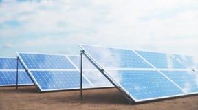 Sonnenkollektoren der Illustration 3D Alternative Energie Konzept der erneuerbarer Energie ?kologische, saubere Energie Sonnenkol lizenzfreies stockbild