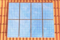 Sonnenkollektoren der Illustration 3D auf einem roten roff, Stromerzeugungstechnologie Alternative Energie Solarbatteriefeldmodul Lizenzfreies Stockbild