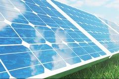 Sonnenkollektoren der Illustration 3D auf Himmelhintergrund Alternative saubere Energie der Sonne Energie, Ökologie, Technologie Lizenzfreies Stockfoto
