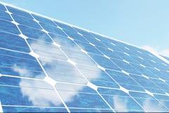Sonnenkollektoren der Illustration 3D auf Himmelhintergrund Alternative saubere Energie der Sonne Energie, Ökologie, Technologie Stockbilder