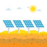 Sonnenkollektoren in der Wüste, vektor abbildung