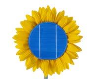 Sonnenkollektoren für erneuerbare Energie mit Sonnenblume stockbild