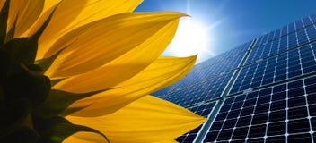 Sonnenkollektoren und Sonnenblume gegen einen sonnigen Himmel stockfoto