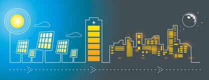 Sonnenkollektorstadt-Energieaufladung Stockbilder