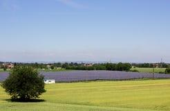 Sonnenkraftwerk in einer Wiese Stockfotografie