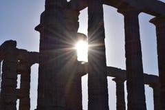 Sonnenlicht durch Sounion der altgriechische Tempel von Poseidon Stockbild