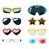 Sonnenschauspielplastikrahmens der Sonnenbrille der Mode vector moderne Brillen des gesetzten zusätzlichen Illustration Stockfotos