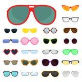 Sonnenschauspielplastikrahmens der Sonnenbrille der Mode vector moderne Brillen des gesetzten zusätzlichen Illustration Lizenzfreies Stockbild