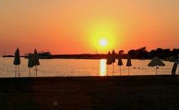 Sonnenschein auf adriatischem Meer Stockfotos