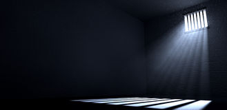 Sonnenschein, der im Gefängnis-Zellenfenster glänzt Lizenzfreies Stockfoto