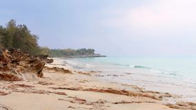 Sonnenschein morgens mit den Meereswellen, die langsam auf dem Sand und den Felsen im Meer mit grünem Moos über Sand spritzen Ruh stock footage