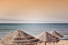 Sonnenschirme auf einem Strand Lizenzfreie Stockbilder