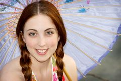 Sonnenschirmfrau Lizenzfreie Stockfotos