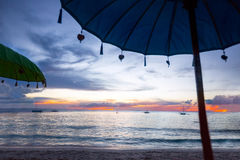Sonnenschutz auf dem Bali-Strand Lizenzfreies Stockfoto