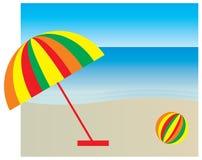 Sonnenschutz auf dem Strand Stockbild