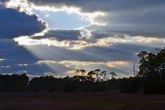 Sonnenstrahlbrüche durch Wolken über Wald lizenzfreies stockfoto