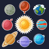 Sonnensystem- oder Planetenaufklebersatz Lizenzfreie Stockfotos