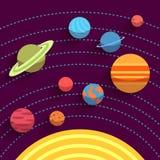 Sonnensystem- und Raumgegenstände Vektor eingestellt in Ebene Stockfotos