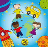 Sonnensystem und Schule Stockbilder