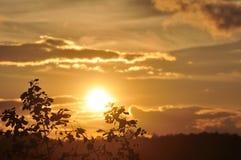 Sonnenuntergänge, Himmel glättend Goldener Himmel Goldene Wolke Sonnenuntergang mit goldenem gelbem Himmel Die letzte Stunde am e Lizenzfreie Stockbilder