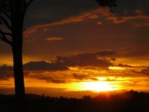 Sonnenuntergang in Österreich Lizenzfreie Stockfotos
