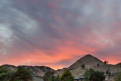 Sonnenuntergang über Ackerland in Mittel-Oregon USA Amerika Stockfoto