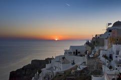 Sonnenuntergang über Agean Meer in Santorini Stockfotografie